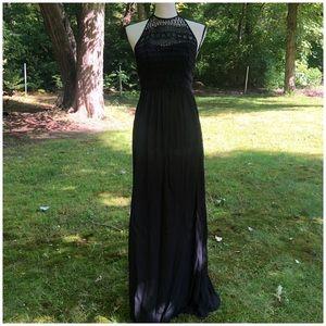 ASOS black crochet top maxi dress